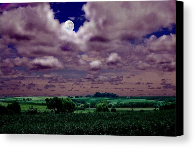 Landscape Canvas Print featuring the photograph Tarkio Moon by Steve Karol