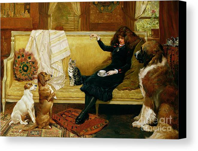 Teatime Canvas Print featuring the painting Teatime Treat by John Charlton