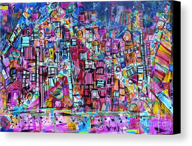 Tel Aviv Canvas Print featuring the mixed media Tel Aviv by Joyce Goldin