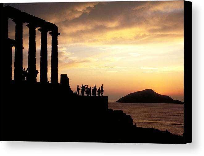 Tourists Canvas Print featuring the photograph Temple Of Poseiden In Greece by Carl Purcell