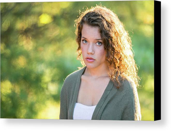Girl Canvas Print featuring the photograph Tentative by Lisa Lemmons-Powers