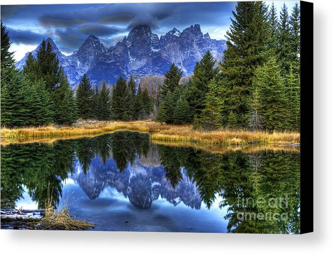 Places Canvas Print featuring the photograph Teton Dawn Reflection by Dennis Hammer