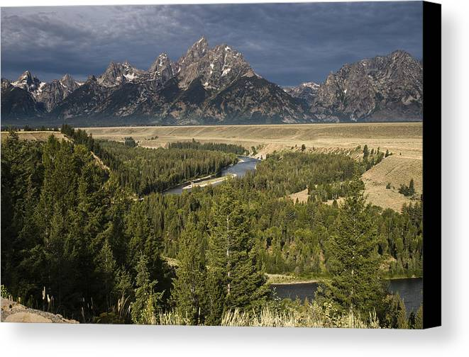 Grand Tetons Canvas Print featuring the photograph Teton Valley Snake River by Chad Davis