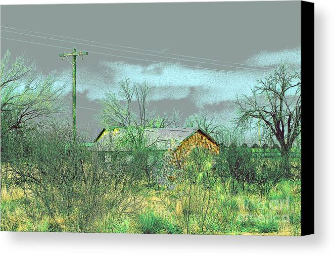 Landscape Canvas Print featuring the photograph Texas Farm House - Digital Painting by Merton Allen