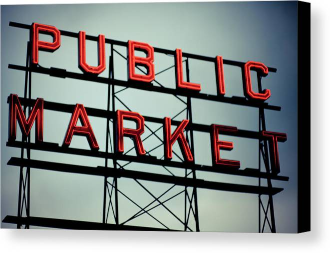 Horizontal Canvas Print featuring the photograph Text Public Market In Red Light by © Reny Preussker
