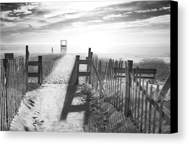 The Beach Canvas Print featuring the photograph The Beach In Black And White by Dapixara Art