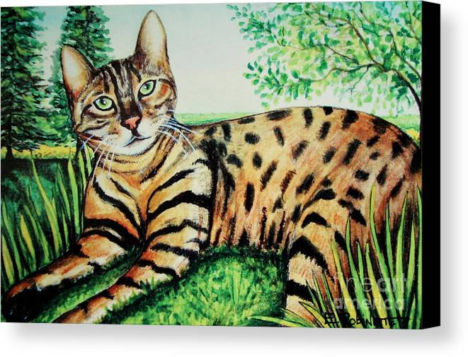 Cat Canvas Print featuring the painting The Bengal by Elizabeth Robinette Tyndall