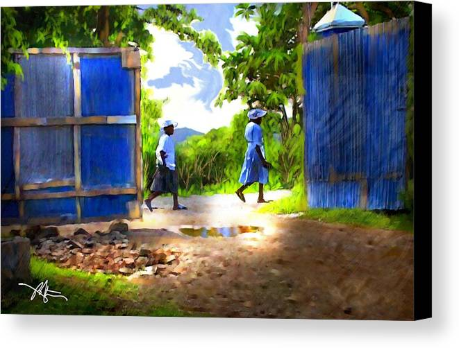 Impressionism Canvas Print featuring the painting The Blue Gate by Bob Salo