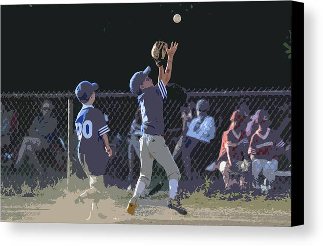 Baseball Canvas Print featuring the photograph The Catch by Peter McIntosh