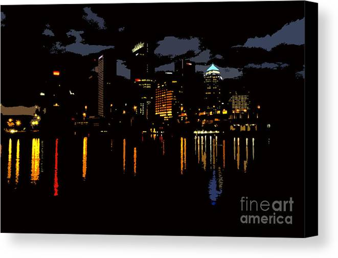 Tampa Florida Canvas Print featuring the photograph The City Dark by David Lee Thompson
