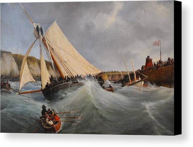 Louis Garneray - The Cutter Furet In The Service Of Her Royal Highness The Duchess Of Berry Leaving The Port Of Dieppe Canvas Print featuring the painting The Cutter Furet In The Service Of Her Royal Highness by MotionAge Designs