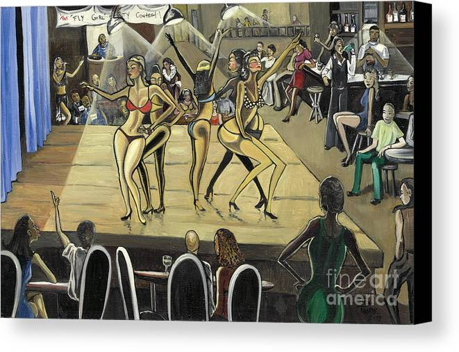 Caricature Canvas Print featuring the painting The Fly Girl Beauty Contest by Toni Thorne