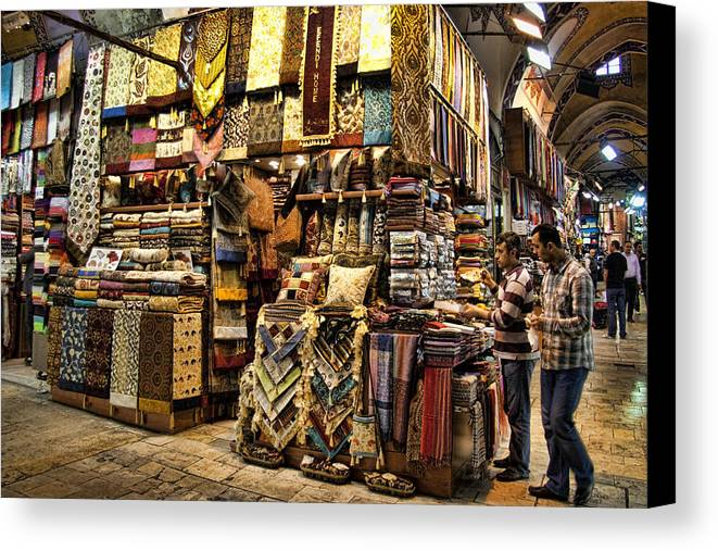 Turkey Canvas Print featuring the photograph The Grand Bazaar In Istanbul Turkey by David Smith