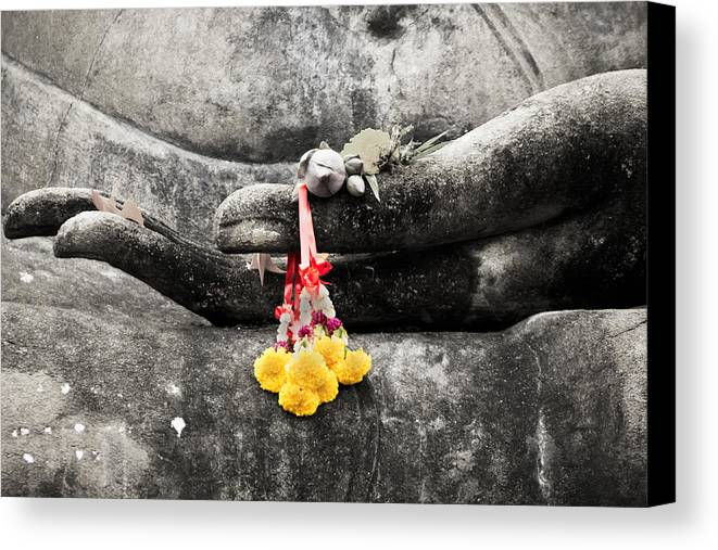 Buddha Canvas Print featuring the photograph The Hand Of Buddha by Adrian Evans