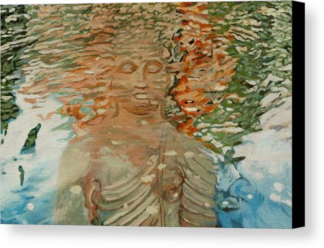 Buddhism Canvas Print featuring the painting The Hindrance Of Sensual Desires by Allan OMarra