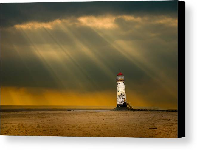 Canvas Print featuring the photograph The Lighthouse As The Storm Breaks by Meirion Matthias