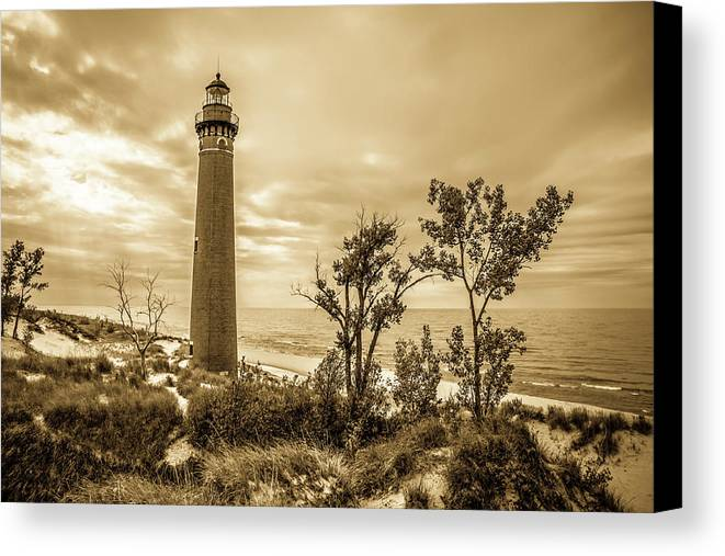 Little Canvas Print featuring the photograph The Little Sable Lighthouse by Ehrlich Gallery