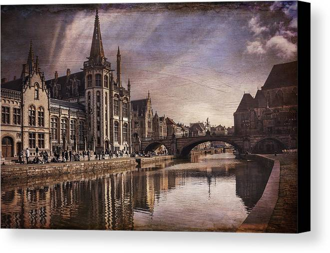 Ghent Canvas Print featuring the photograph The Medieval Old Town Of Ghent by Carol Japp
