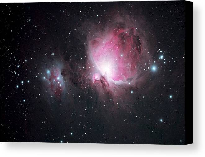 Horizontal Canvas Print featuring the photograph The Orion And The Running Man Nebulae by Pat Gaines