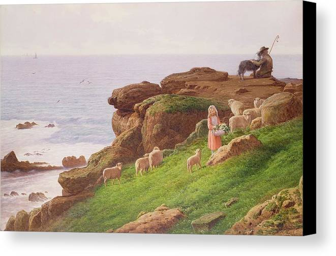 The Canvas Print featuring the painting The Pet Lamb by J Hardwicke Lewis