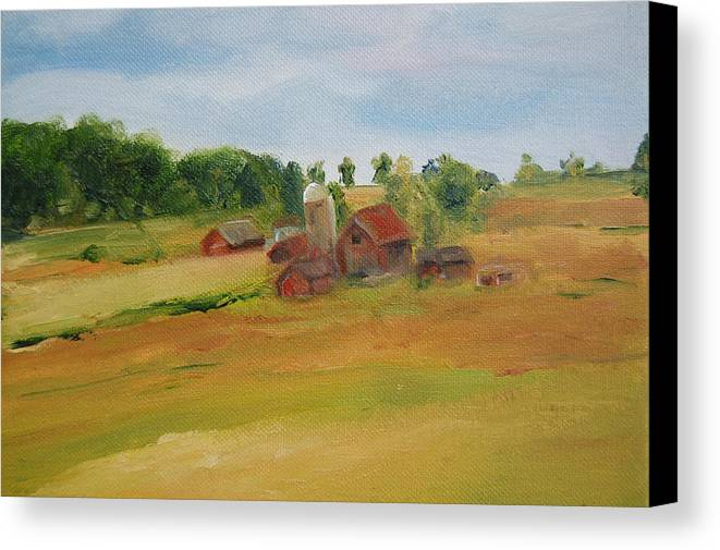Barn Canvas Print featuring the painting The Red Barn by Lisa Konkol