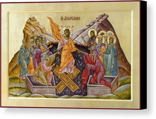 Icon Canvas Print featuring the painting The Resurrection Of Christ by Julia Bridget Hayes