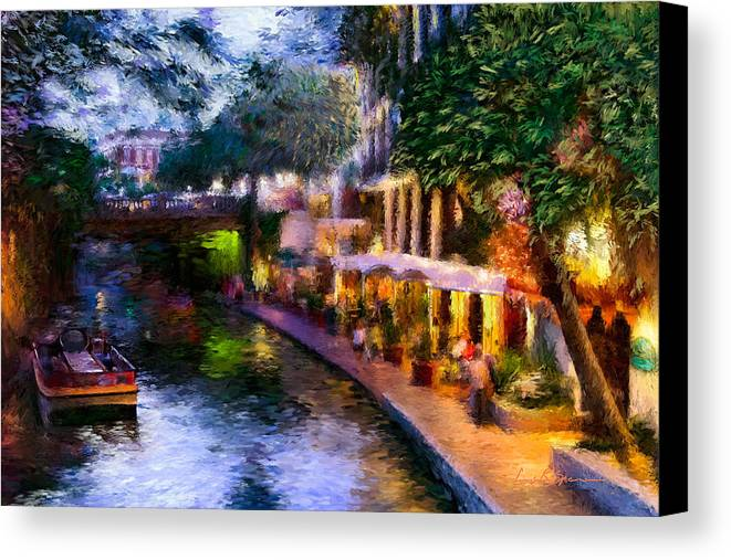 River Walk Canvas Print featuring the painting The River Walk by Lisa Spencer