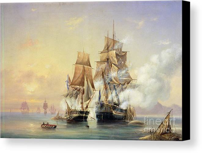 The Canvas Print featuring the painting The Russian Cutter Mercury Captures The Swedish Frigate Venus On 21st May 1789 by Aleksei Petrovich Bogolyubov