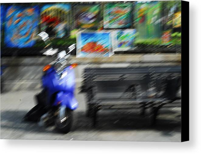 Scooter Canvas Print featuring the photograph The Scooter Is Blue by Wayne Archer