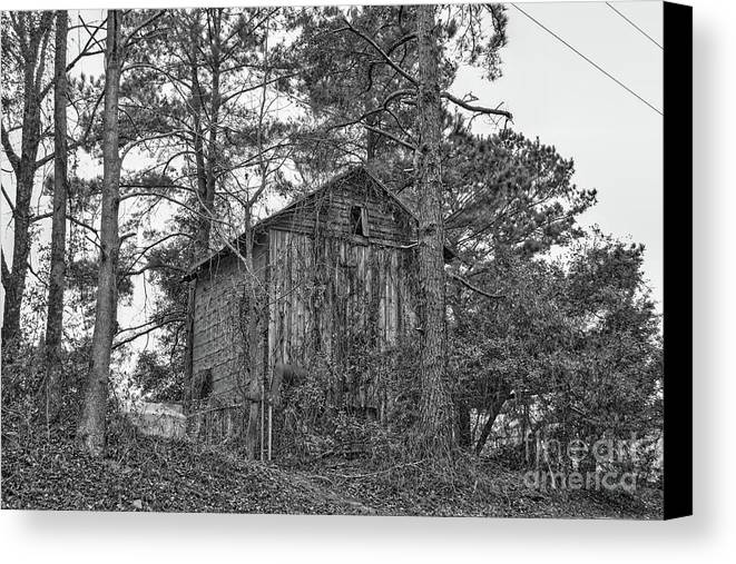 Architecture Canvas Print featuring the photograph The Shack In Black And White by Kathy Baccari