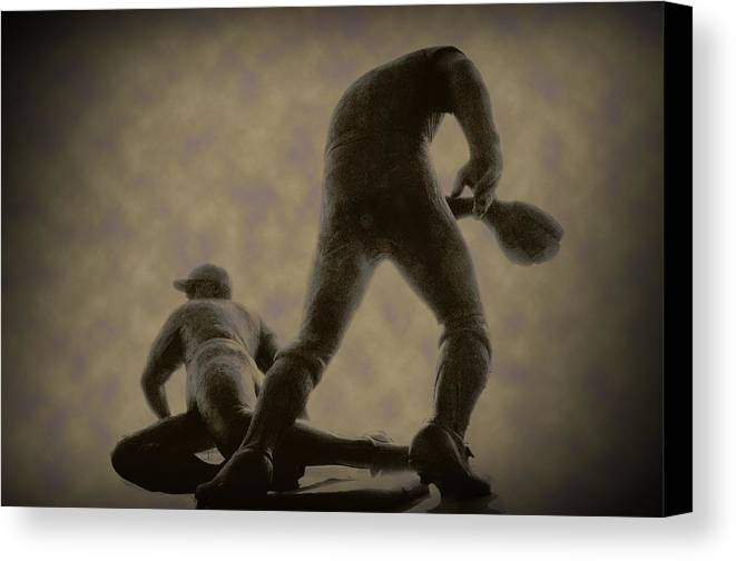 Baseball Canvas Print featuring the photograph The Slide - Kick Up Some Dust by Bill Cannon