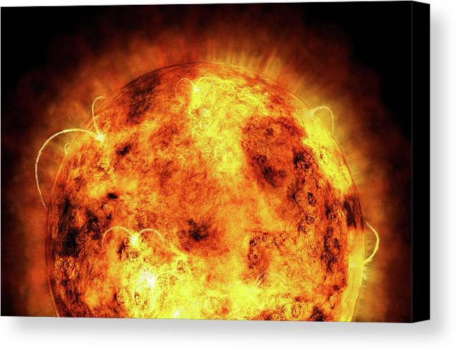 Sun Canvas Print featuring the digital art The Sun by Michael Tompsett
