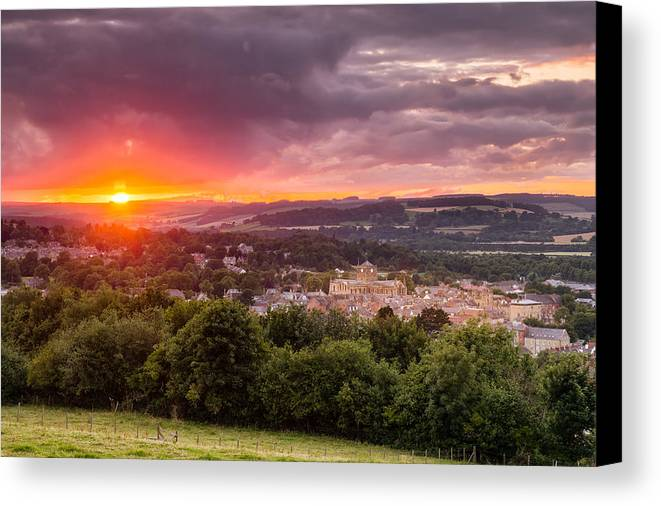 Northumberland Canvas Print featuring the photograph The Sun Sets Over Hexham by David Head