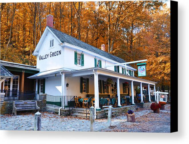 Valley Green Canvas Print featuring the photograph The Valley Green Inn In Autumn by Bill Cannon