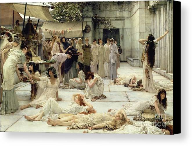The Canvas Print featuring the painting The Women Of Amphissa by Sir Lawrence Alma-Tadema