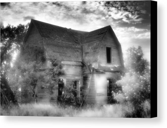 Black Canvas Print featuring the photograph This Old House by Christina Young