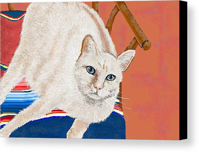 Cat Canvas Print featuring the digital art This Seat Is Taken by Carole Boyd