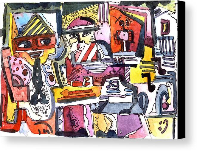 Abstract Canvas Print featuring the painting Those Crazy Musicians by Mindy Newman