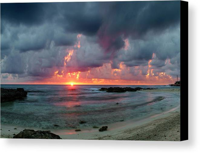 Isla De Mujeres Canvas Print featuring the photograph Threatening Sky Above The Caribbean Sea Off Isle De Mujeras' North Shore by Dean Hueber