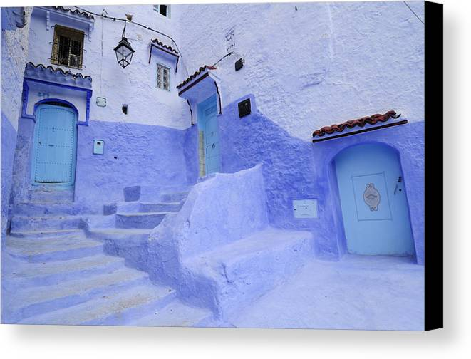 Morocco Canvas Print featuring the photograph Three Blue Doors In Chefchaouen by Liz Pinchen