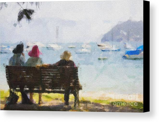 Impressionism Impressionist Water Boats Three Ladies Seat Canvas Print featuring the photograph Three Ladies by Sheila Smart Fine Art Photography