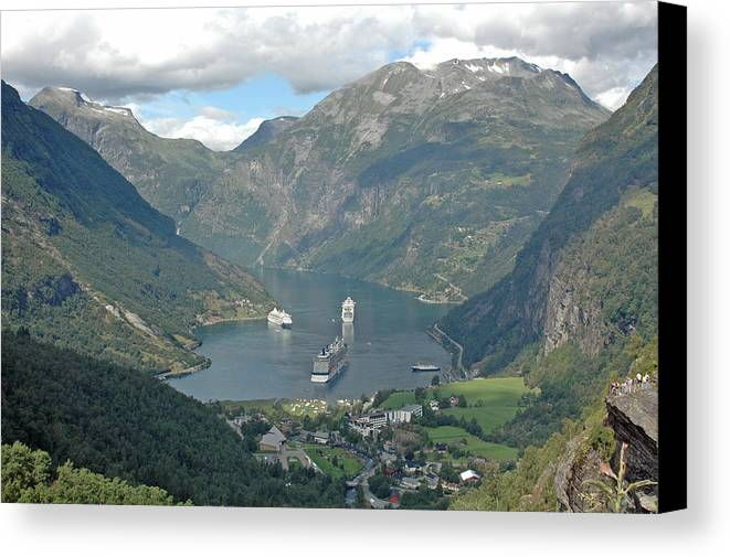 Ship Canvas Print featuring the photograph Three Ships At Geiranger Fjord by Deni Dismachek