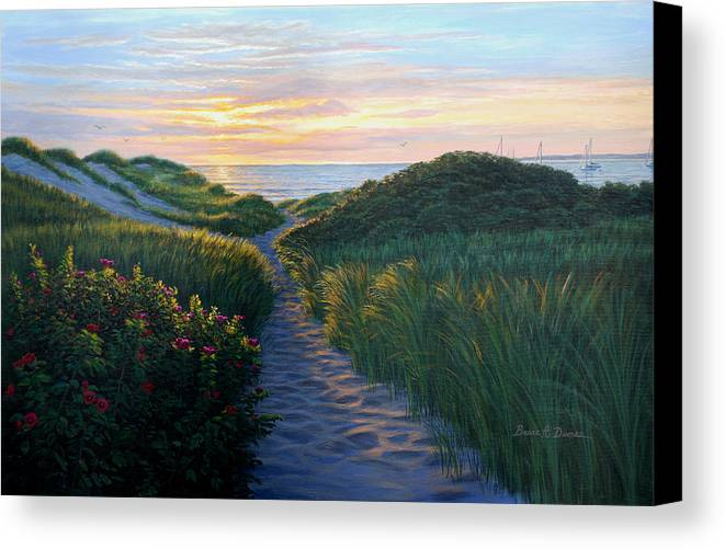 Seascape Canvas Print featuring the painting Through The Dunes by Bruce Dumas