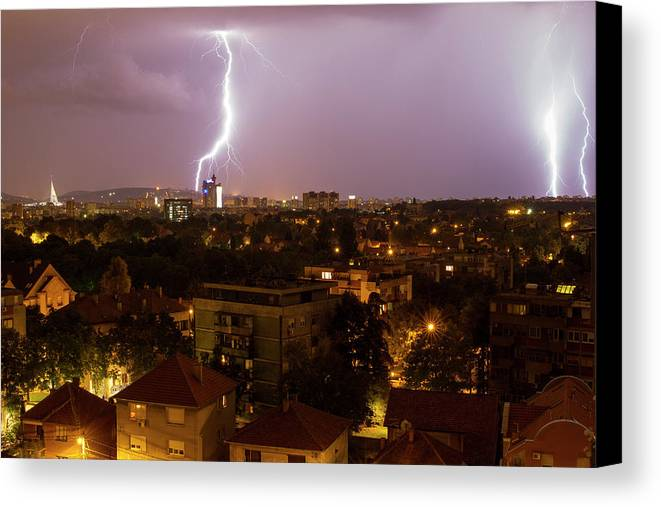 Lighting Storm Canvas Print featuring the photograph Thunderstorm by Snea Zemun