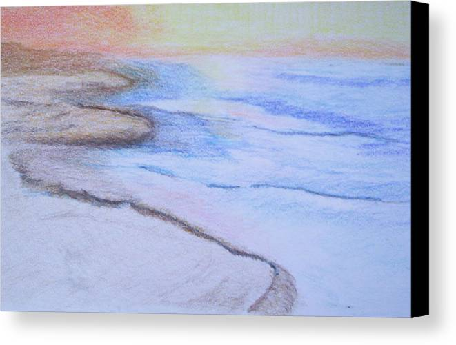 Landscape Canvas Print featuring the drawing Tide Is Out by Suzanne Udell Levinger