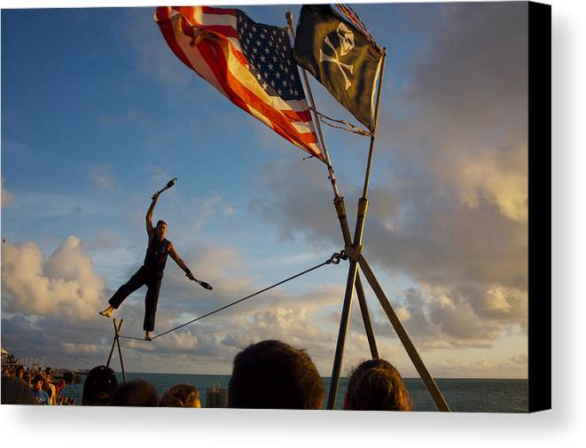 Balance Canvas Print featuring the photograph Tight Rope Walker In Key West by Carl Purcell