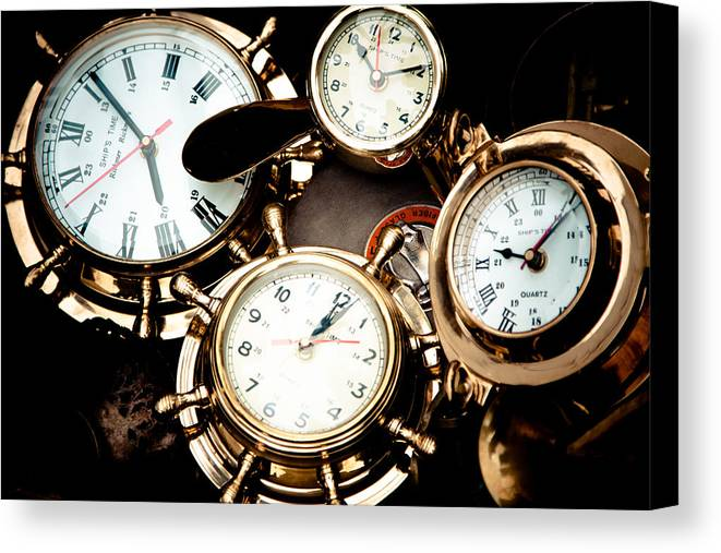 Old; Antique; Retro; Background; Style; Art; Decor; Decorating; Decoration; Grunge; Antiquities; Object; Old-fashioned; Classic; Collection; Valuable; Junk; Together; Gathered; Clock; Time; Watch; Metal; Vintage; Canvas Print featuring the photograph Time by Gabriela Insuratelu