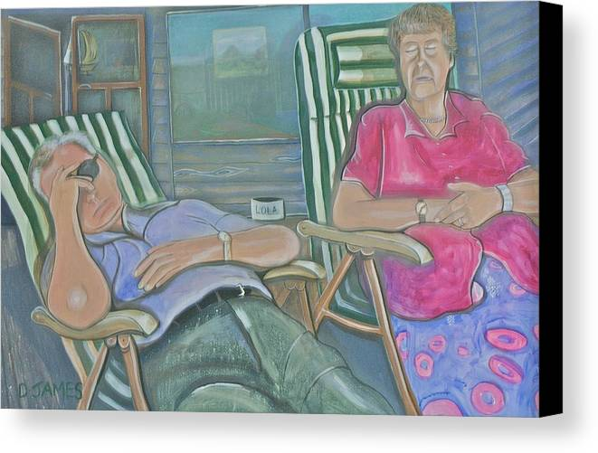 Elderly Couple Canvas Print featuring the painting Time Out by Duncan James