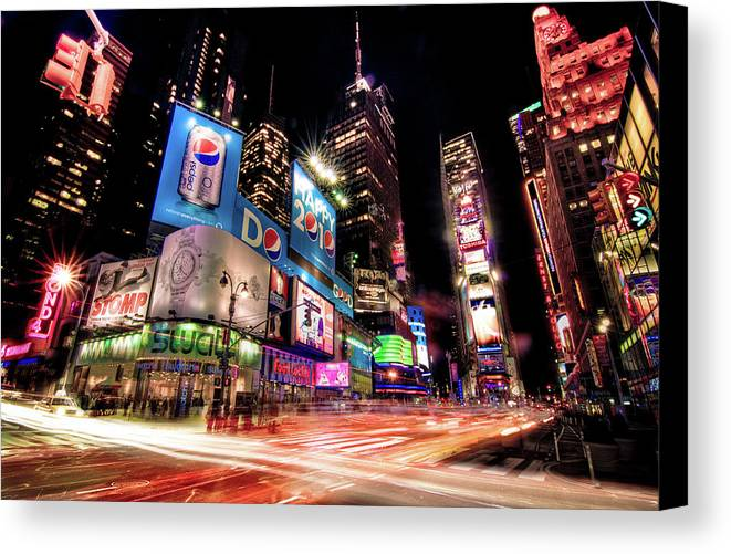 Horizontal Canvas Print featuring the photograph Times Square 2010 New Year Neon by Josh Liba