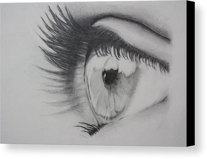 Eyes Drawing Canvas Print featuring the drawing To Believe Is To See by Ted Castor